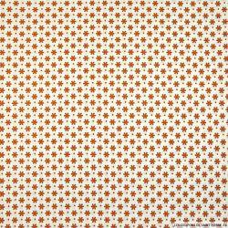 Coton imprimé pétale espacé marron fond blanc cassé