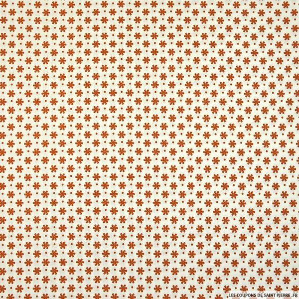 Coton imprimé pétale espacé marron fond blanc