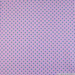 Coton imprimé pétale espacé bleu vert fond rose foncé