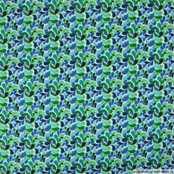 Coton imprimé Splash vert et bleu