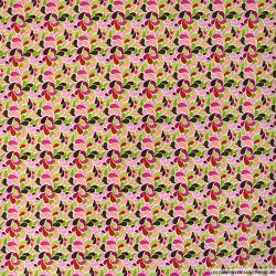 Coton imprimé Splash rose et vert