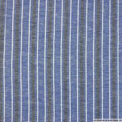 Coton lin rayé bleu, blanc et noir