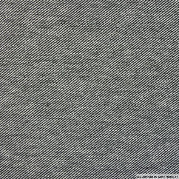 Coton lin aspect sergé noir et blanc