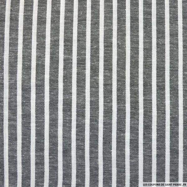 Coton lin rayé noir et blanc