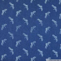 Jeans coton fin imprimé cigogne