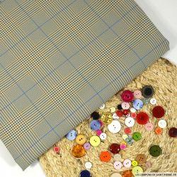 Tartan polyester gris, bleu, marron fond beige
