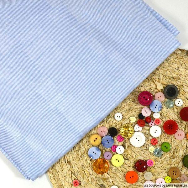 Popeline de coton rayé bleu et blanc fantaisie