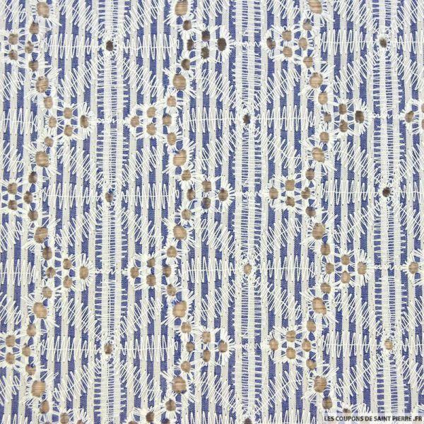 Coton brodé direction la plage bleu et blanc