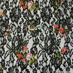 Dentelle brodée noire fleurs de couleur