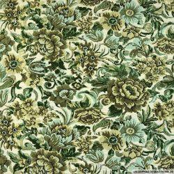 Jacquard polyester fleur versaillaise vert fond écru