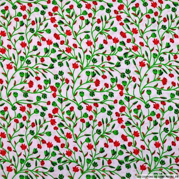 Coton imprimé arabesque florale fond rosé
