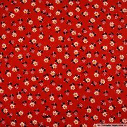 Coton imprimé feeling good fond rouge