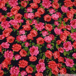 Viscose imprimée histoire de rose fond bleu foncé