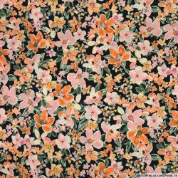 Satin polyester imprimé pour mon duo rose et orange fond noir
