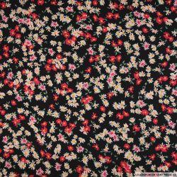 Satin polyester imprimé jeune et belle fuchsia, rose fond noir