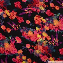 Double gaze encre de fleur fond noir