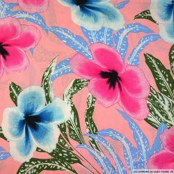 Viscose imprimée l'air tropical bleu fond rose