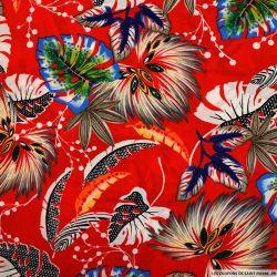 Crêpe polyester imprimé voyage sans retour fond rouge