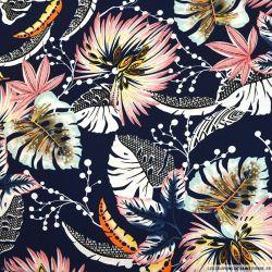 Crêpe polyester imprimé voyage sans retour fond marine