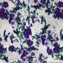 Viscose imprimé rosier violet sur fond blanc