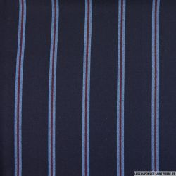 Tissu tailleur double rayure rouge et bleu fond marine