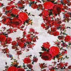 Viscose imprimée épopée florale fond blanc