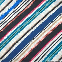 Satin polyester imprimé rayures diagonales multicolore