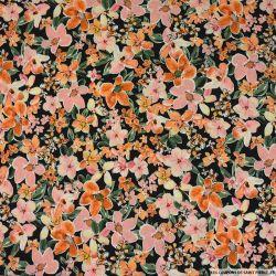 Crêpe polyester imprimé pour mon duo rose et orange fond noir