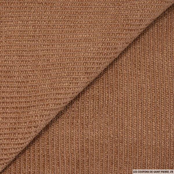 Maille chenille côtelée marron clair