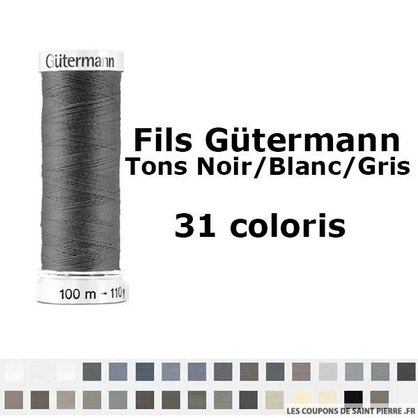 Fil pour tout coudre 100m - Tons Noir/Blanc/Gris - Gütermann
