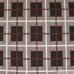 Jersey imprimé polyviscose à carreaux marron