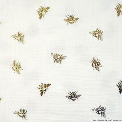 Double gaze imprimée abeille fond blanc