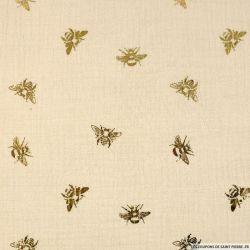 Double gaze imprimée abeille fond beige
