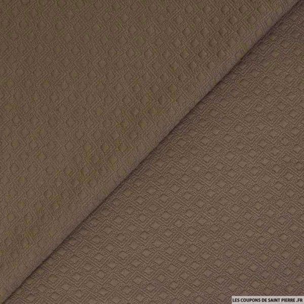 Jersey matelassé polyester fantaisie sépia