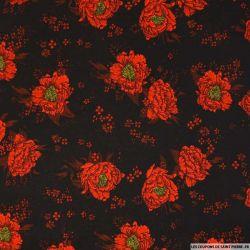Microfibre imprimée dessins de roses fond noir