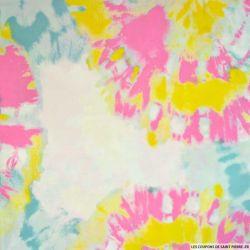 Viscose imprimée tie and dye abstrait rose et jaune