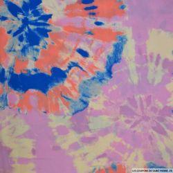 Viscose imprimée tie and dye abstrait bleu et parme