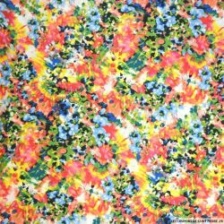 Crêpe satiné imprimé artiste multicolore