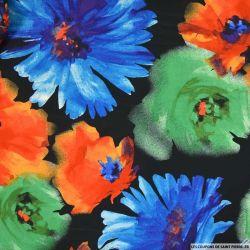 Crêpe satiné imprimé ballade à deux rose et bleu
