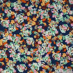 Crêpe imprimé fleurs confetti fond marine