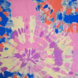 Crêpe imprimé tie and dye abstrait bleu et parme