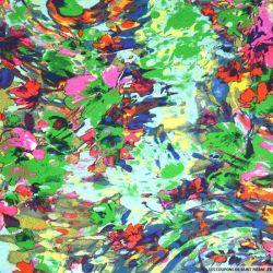 Satin crinkle jacquard imprimé voyage botanique vert