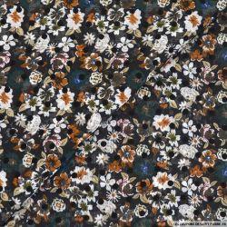 Mousseline imprimée floqué pois fleurs fond noir