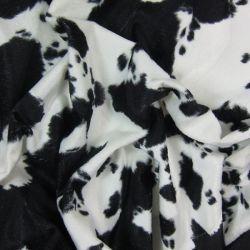 Fourrure synthétique vache noire et blanche