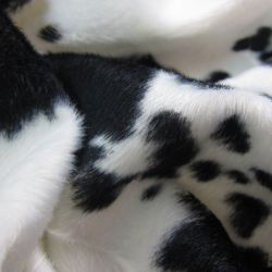 Tissus Fourrure synthétique vache noire et blanche