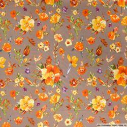Viscose imprimée feuilles d'automne fond marron