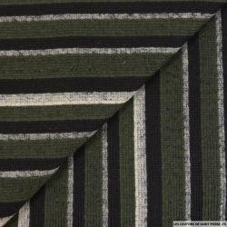 Laine façon tricot rayé vert et noir