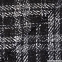 Tweed polyester carreaux irisé noir et blanc