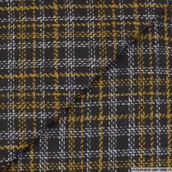 Tweed polyester carreaux ocre et noir