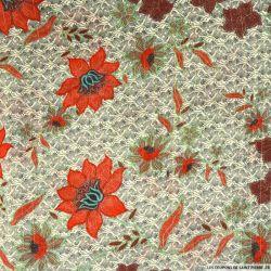 Mousseline imprimée Irisée doré fleurs bleues